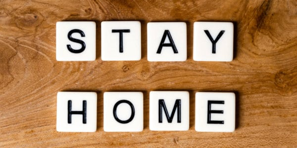 Stay Home letters on wood
