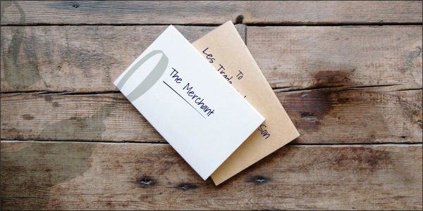 Envelope and note with The Merchant written on it