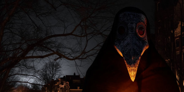 person in plague mask at night outdoors