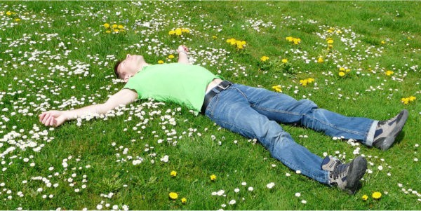 Man lying in grass with flowers and dandelions