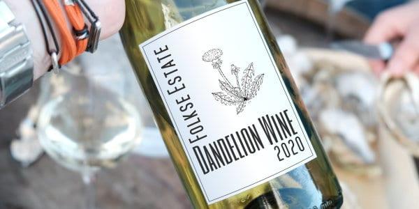 Bottle of dandelion wine from Folkse Estate