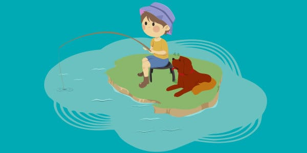 Boy fishing with dog laying beside him.